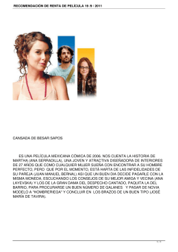 RECOMENDACIÓN DE RENTA DE PELÍCULA 19 /9 / 2011