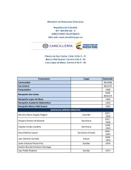 Funcionario Cargo Extensión Conmutador 3814000 Fax Central
