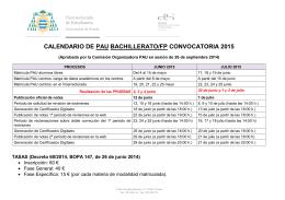 Calendario de la PAU