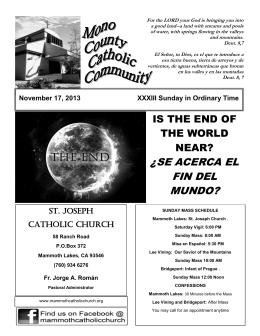 ¿SE ACERCA EL FIN DEL MUNDO? - St. Joseph`s Catholic Church