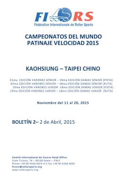 campeonatos del mundo patinaje velocidad 2015 kaohsiung