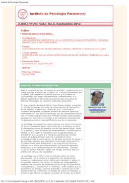 Vol.7 No.3, Septiembre 2012 - Instituto de Psicología Paranormal