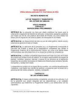 Ley de Tránsito y Transportes del Estado de Sinaloa