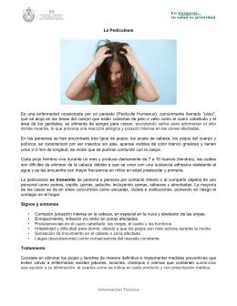 Información Técnica La Pediculosis Es una enfermedad ocasionada