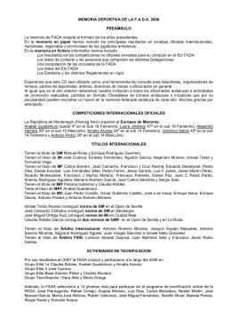 MEMORIA DEPORTIVA DE LA F.A.D.A. 2008 PREÁMBULO La