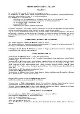 MEMORIA DEPORTIVA DE LA F.A.D.A. 2009 PREÁMBULO La