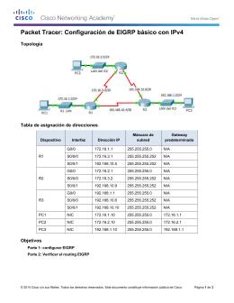 Packet Tracer: Configuración de EIGRP básico con IPv4