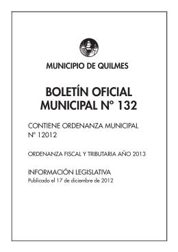Boletín Oficial Municipal N° 132. Ordenanza