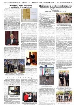 Argentínai Magyar Hírlap 7. évf. 88-89. sz. 2012. július