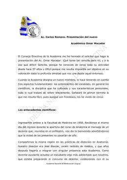 Ac. Carlos Romero. Presentación del nuevo Académico Omar