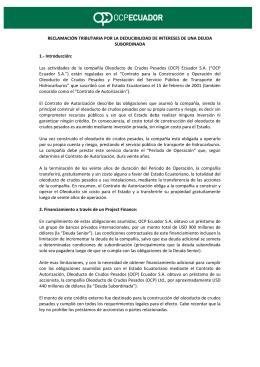 OLEODUCTO DE CRUDOS PESADOS (OCP) ECUADOR S