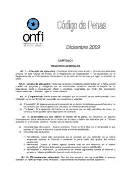 Código de Penas – ONFI - Organización Nacional de Futbol Infantil