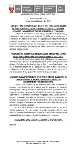 PERÚ Ministerio de Educación UGEL CUSCO Nota de Prensa N