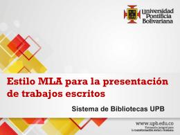 Norma MLA - Sistema de Bibliotecas
