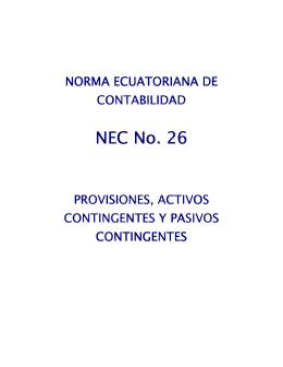 NEC - 26 Provisiones, activos contingentes y pasivos contingentes