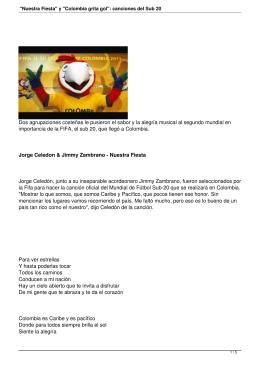 """""""Nuestra Fiesta"""" y """"Colombia grita gol"""": canciones del Sub 20"""