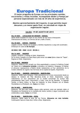 Europa Tradicional - 20 Agosto de 2015