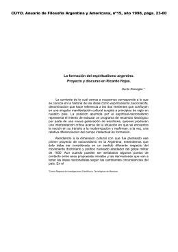 CUYO. Anuario de Filosofía Argentina y Americana, nº15, año 1998