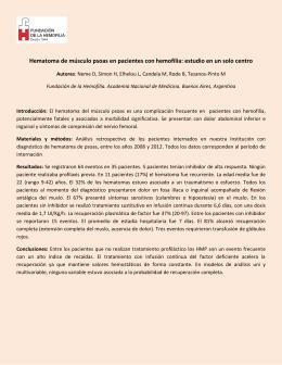 HEMATOMA DE MUSCULO PSOAS - Fundación de la Hemofilia