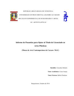 Informe de Pasantías para Optar al Título de Licenciado en Artes