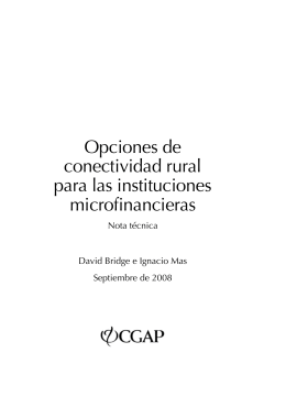Rural Connectivity Options for Microfinance Institutions