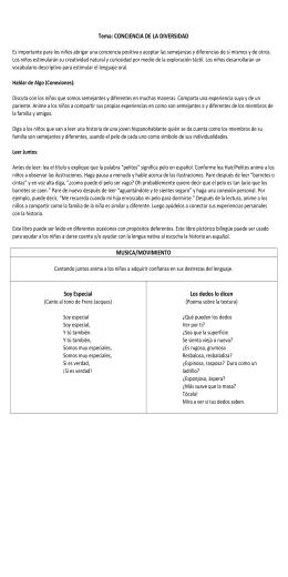 Tema: CONCIENCIA DE LA DIVERSIDAD MUSICA/MOVIMIENTO