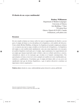 El diseño de un corpus multimodal Rodney Williamson