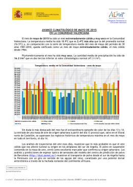 avance climatológico de mayo de 2015 en la comunidad valenciana