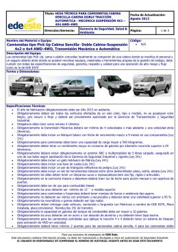 Ficha Técnica Camionetas Tipo Pick Up Cabina Sencilla