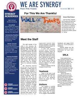 Newsletter 112613 - Synergy Academies