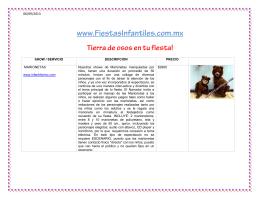 SHOW / SERVICIO DESCRIPCION PRECIO MARIONETAS www