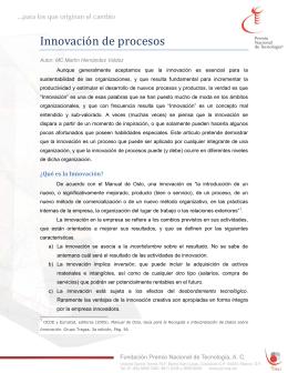Innovación de procesos - Premio Nacional de Tecnología e