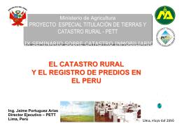 EL CATASTRO RURAL Y EL REGISTRO DE PREDIOS EN EL PERU