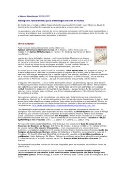 Bibliografía recomendada para aracnólogos de todo el mundo