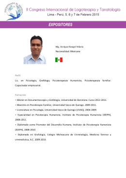Mg. Enrique Rangel Hilario Nacionalidad: Mexicana Perfil Lic. en
