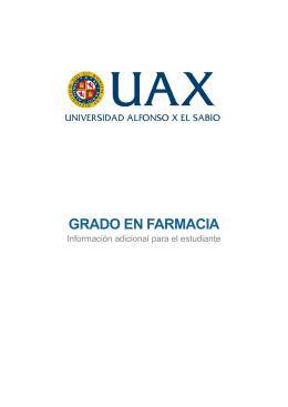 Información Adicional sobre el Grado en Farmacia
