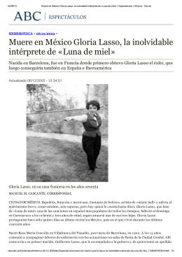 Muere en México Gloria Lasso, la inolvidable intérprete de «Luna