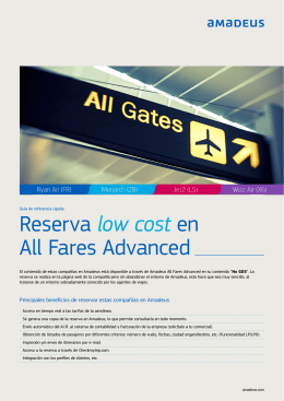 Reserva low cost en All Fares Advanced