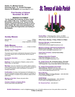 First Sunday of Advent November 30, 2014 Sunday Masses Daily