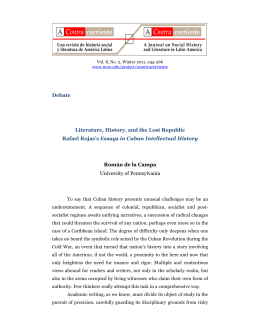Debate Literature, History, and the Lost Republic Rafael Rojas`s
