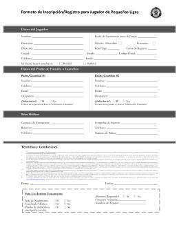 Formato de Inscripción/Registro para Jugador de Pequeñas Ligas