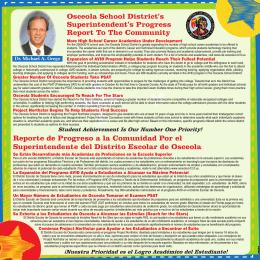 Reporte de Progreso a la Comunidad Por el Superintendente del