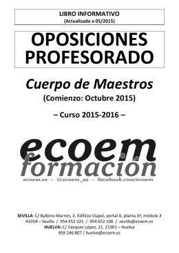 Información Oposiciones MAESTROS 2015