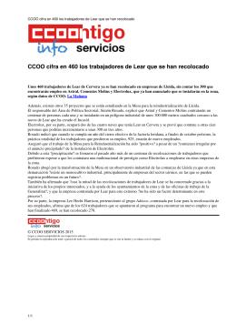 CCOO cifra en 460 los trabajadores de Lear que se han recolocado