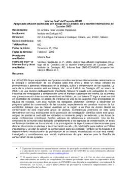 Informe final* del Proyecto CE033 Apoyo para difusión