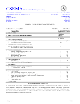workers` compensation committee agenda