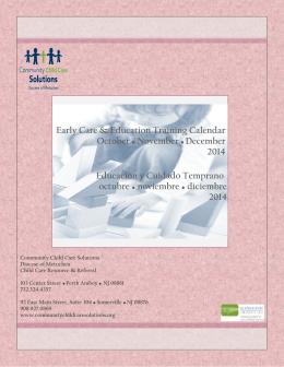 Educación y Cuidado Temprano octubre noviembre diciembre 2014