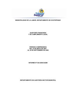 municipalidad de la labor, departamento de ocotepeque auditoría