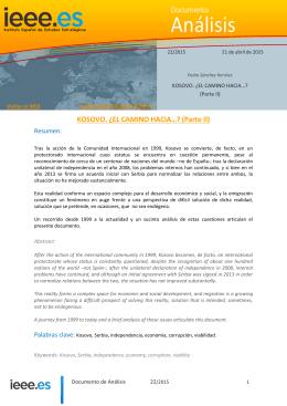 Kosovo. ¿El camino hacia...? (II) - Instituto Español de Estudios
