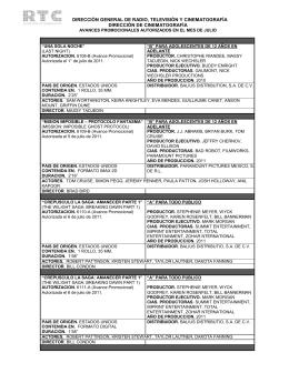 Julio 2011 - Dirección General de Radio, Televisión y Cinematografía